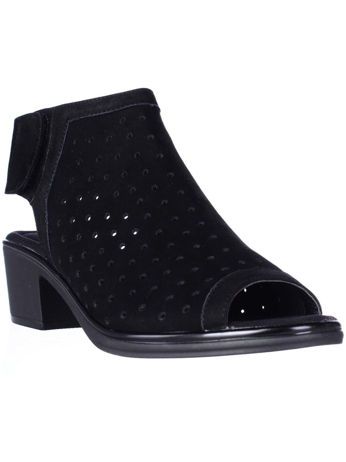 Womens STEVEN by Steve Madden Phoebiey Perforated Caged Sandals, Black, 7 US