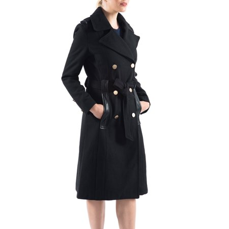 Belted Textured Wool Blend - Alpine Swiss Womens Wool Blend Double Breasted Belted Trench Coat Long Jacket