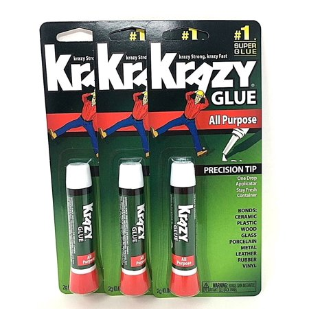 Extra Strong Super Glue - 3 Pack Krazy Glue Instant strong Super Glue crazy fast Tube All Purpose 0.07oz