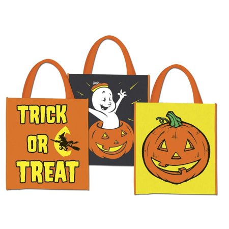 Club Pack of 12 Assorted Halloween Heavyweight Plastic Treat Bags with Handles 12