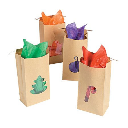 Fun Express - Christmas Craft Bag W/ Cello Cutouts for Christmas - Party Supplies - Bags - Paper Treat Bags - Christmas - 12 - Fun Halloween Crafts And Treats