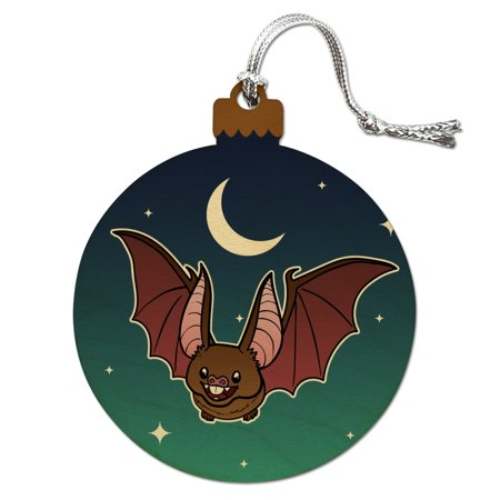 Cute Bat Cartoon Flying at Night Wood Christmas Tree Holiday Ornament - Christmas Cartoon Tree