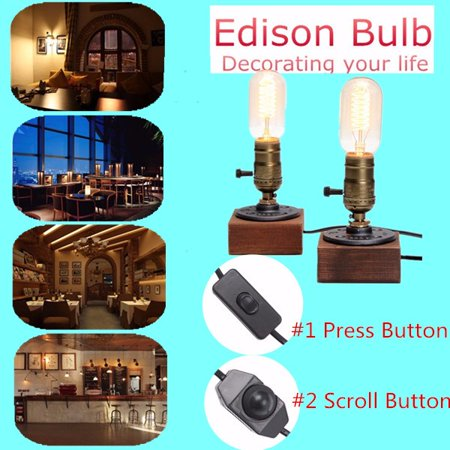E27 Industrial Retro Vintage Edison Wooden Socket Desk Light Table Lamp Dimmable Home Decor Scroll Switch