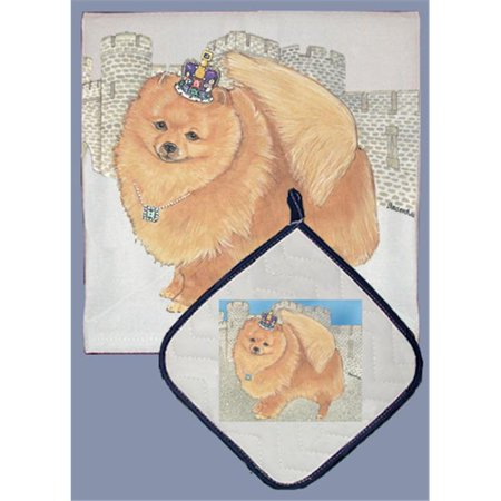 Pipsqueak Productions DP914 Dish Towel and Pot Holder Set - Pomeranian