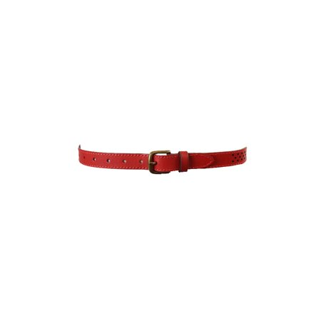 Fossil Tomato Red Brass Buckle Perforated Dot Belt L Fossil Leather Genuine Belt