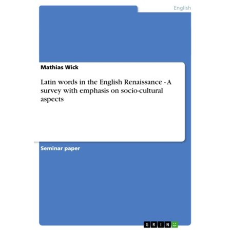 Latin Halloween Words (Latin words in the English Renaissance - A survey with emphasis on socio-cultural aspects -)