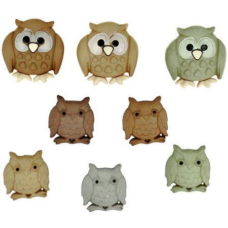Embellishment Resin Flat Back - Dress It Up Owl Flats Embellishments, 8 Piece
