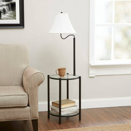 Mainstays Transitional Gl End Table Lamp Matte Black