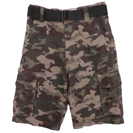 - Boys Green Woodland Camouflage Ripstop Belted Cargo Shorts