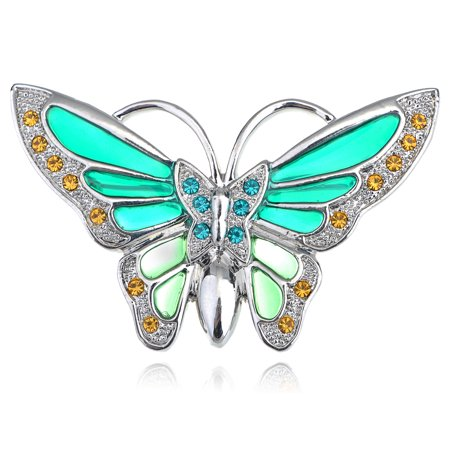 Brilliant Blue Sea Green Enamel Painted Butterfly Crystal Rhinestone Pin Brooch