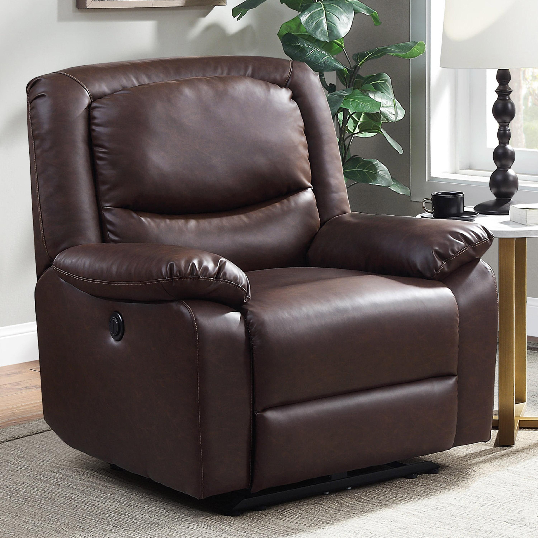 Sensational Serta Push Button Power Recliner With Deep Body Cushions Machost Co Dining Chair Design Ideas Machostcouk
