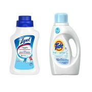 Tide High Efficiency Free Liquid Laundry Detergent 1.09L + Lysol Laundry Additive, Eliminates Bacteria, 1.2L