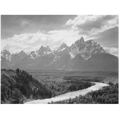 View From River Valley Towards Snow Covered Mts River In Fgnd, Grand Teton NP Wyoming 1933-1942 Black and White Photography Mountain Landscape Print Wall Art By Ansel Adams Black White Landscape Photographs