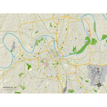 Political Map of Nashville, TN Print Wall Art