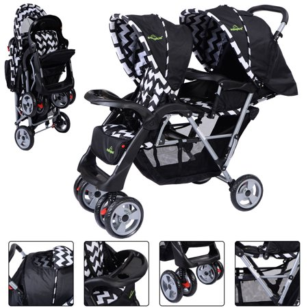Foldable Twin Baby Double Stroller Kids Jogger Travel Infant Pushchair