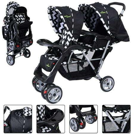 Positioning Push Chair - Foldable Twin Baby Double Stroller Kids Jogger Travel Infant Pushchair Black