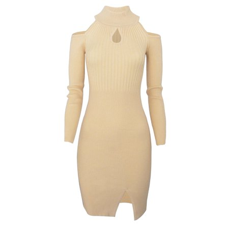 TAM WARE Women Casual Slim Fit Knit Front Keyhole Sweater Bodycon