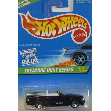 MERCEDES BENZ 500 SL Hot Wheels 1996 Treasure Hunt Series #3 of 12 Mercedes 500SL 1:64 Scale Collectible Die Cast Metal Toy Car Model (Value Of Hot Wheels Treasure Hunt Cars)