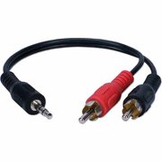 "QVS CC399AC 3.5mm Stereo Male to RCA Male 8"" Speaker Cable"
