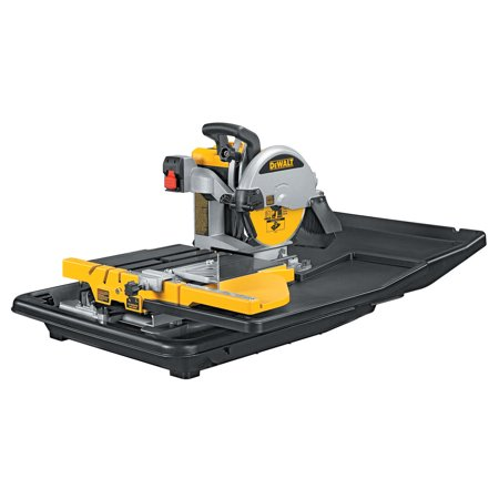Dewalt D24000 10u0022 Wet Tile Saw with Cantilevering Rail and Cart System and 69 Po