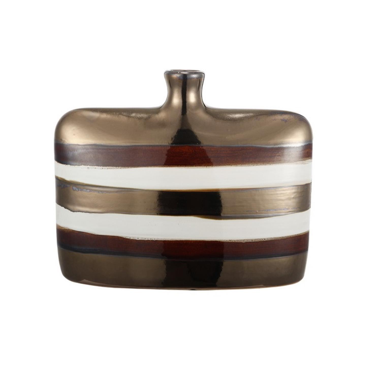 "Image of 11.5"" Bronze, Ivory and Brown Decorative Striped Square Ceramic Codi Vase"
