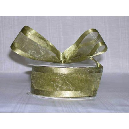Ribbon Bazaar Satin Edge Sheer Organza 1-1/2 inch Moss 25 yards