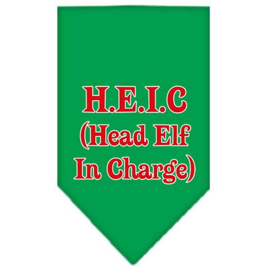 Head elf In Charge Screen Print Bandana Emerald Green Small