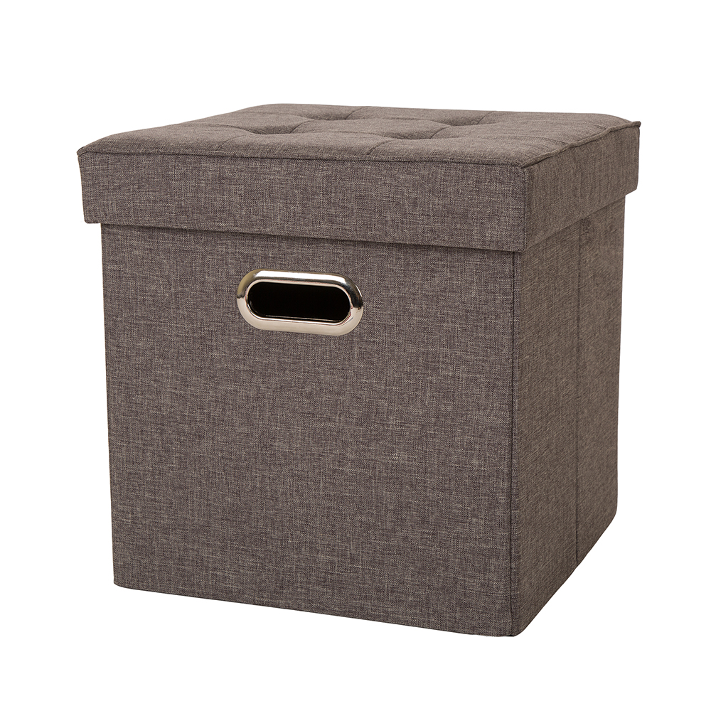 """Glitzhome 15""""H Functional Cube Office Living Room Foldable Linen Storage Ottoman with Padded Seat, Gray Color"""