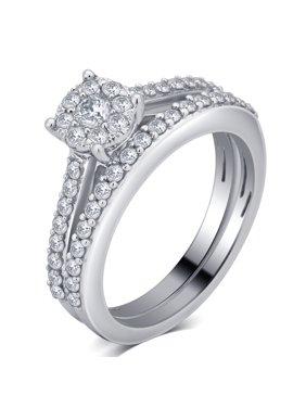 3/4 CTTW Diamond Bridal Set in 10K White Gold