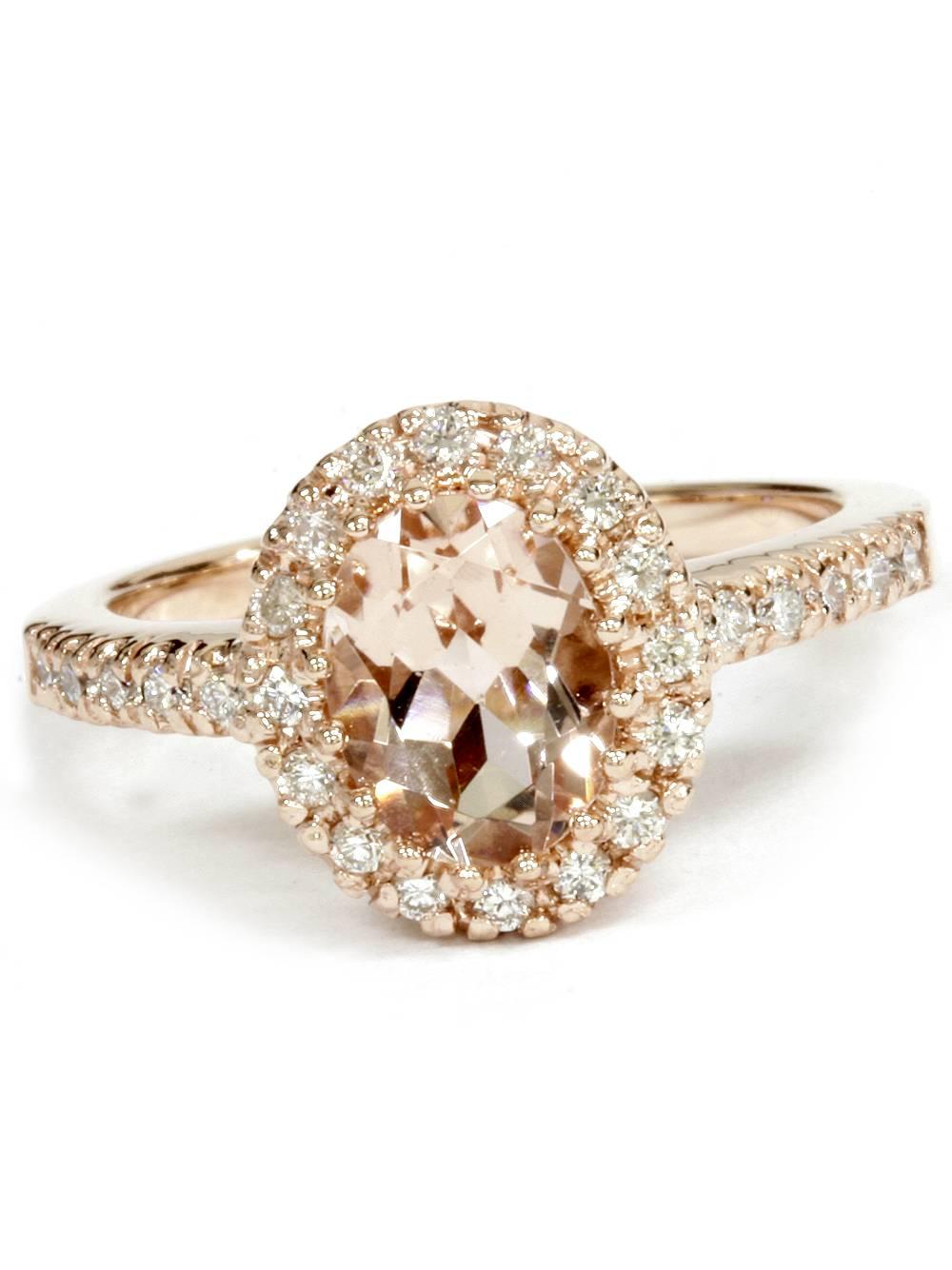 2.00Ct Oval Morganite & Diamond Halo Ring 14K Rose Gold