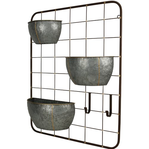 Gracie Oaks Primus 3 Pot Metal Wall Planter Walmart Com