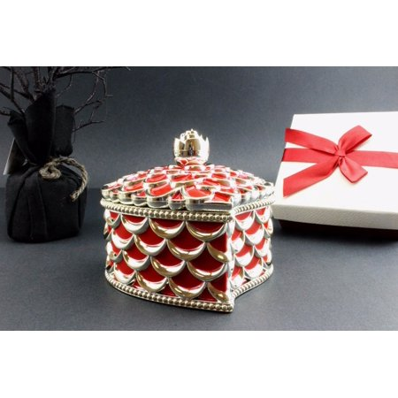 Quality Design Heart Shape Jewelry Treasure Box Red Gold Dresser Organizer Decor EHD 1