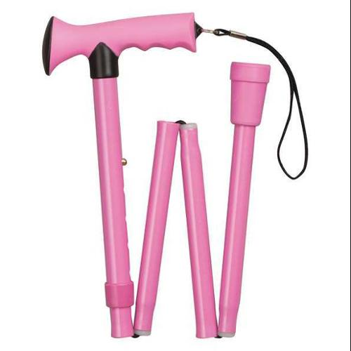 HEALTHSMART 502-1313-0093 Folding Cane,Comfort Grip,13-3/4 in,Pink G9342916