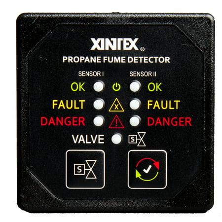 Fireboyxintex P-2BNV-R Xintex Propane Fume Detector W/2 Plastic Sensors - No Solenoid Valve - Square Black Bezel Display