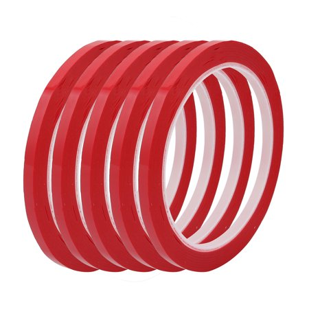 50 Self Adhesive - 5 Pcs 5mm Wide 50 Meters Long PET Self Adhesive Electrical Insulation Tape Red