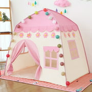 Kids Play Tent for Girls Boys, 420D Oxford Fabric Princess Playhouse, Pink Castle Play Tent Indoor Outdoor with Carry Bag for Children Boys Girls Gift, Lights NOT Included