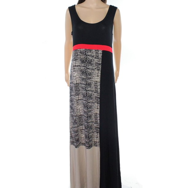 Calvin Klein NEW Black Red Womens Size Medium M Colorblock Maxi Dress