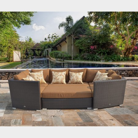 Corvus Batavia Outdoor 6 Piece Brown Wicker Sofa Set With