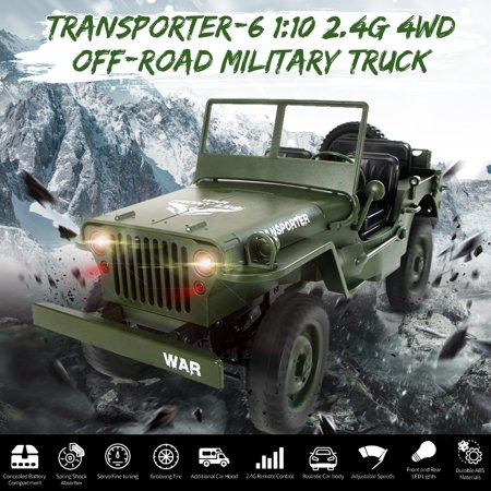 JJRC Q65 2.4G 1/10 Scale 15/h Jedi Proportional Control Crawler 4WD Off-Road RC Car For Kids Gifts - Navy Blue , Green
