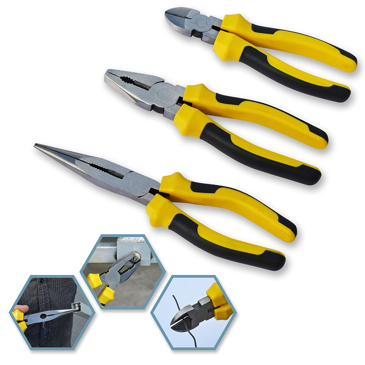 "Sunrise 3 PC Basic Plier Set 7"" Steel Wire Plier, 8"" Sharp Mouth Pliers, 6"" Oblique Mouth Plier Insulation Set"