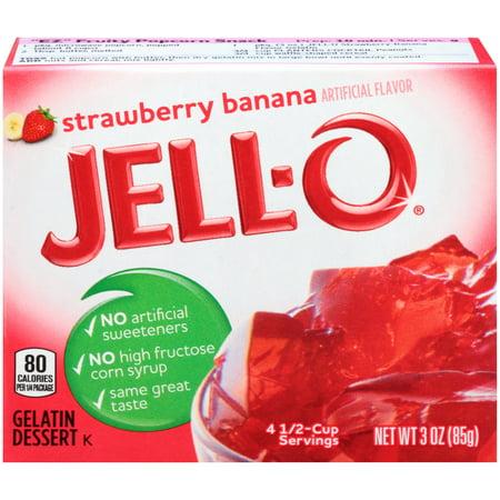 (3 Pack) Jell-O Strawberry Banana Gelatin Mix, 3 oz Box