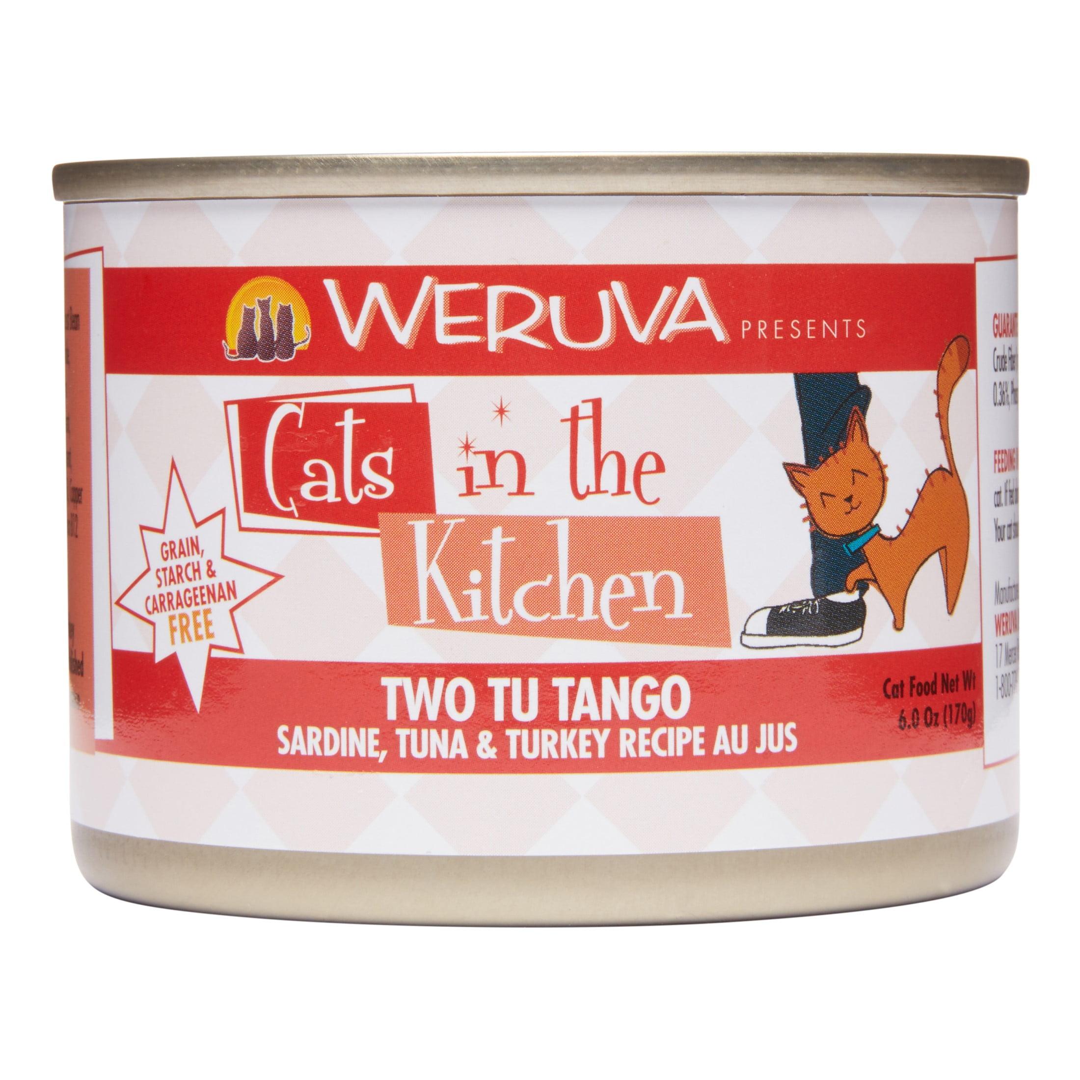 Weruva Cats in the Kitchen Grain-Free Two Tu Tango Sardine, Tuna & Turkey Recipe Wet Cat Food, 6 Oz, Pack of 24