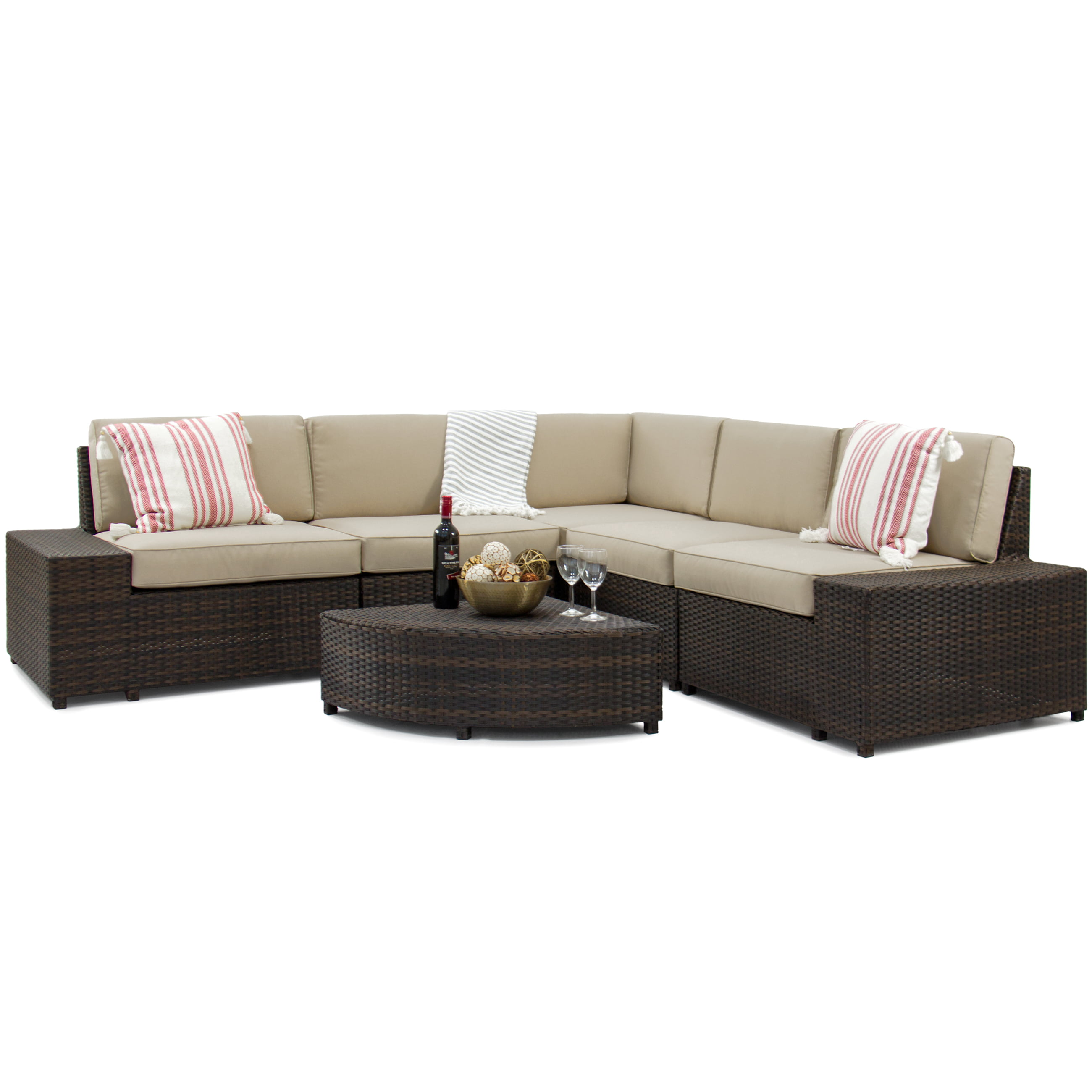 Best Choice Products 6 Piece Wicker Sectional Sofa Patio Furniture Set W 5 Seats Corner Coffee Table Padded Cushions No Embly Required Brown