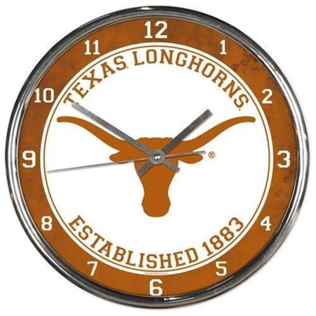 Texas Longhorns Clock Round Wall Style Chrome Cougars Ncaa Wall Clock
