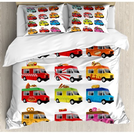 Truck King Size Duvet Cover Set  Ice Cream Asian Doughnut Burgers Pizza Sushi Hotdog Colorful Food Truck Illustration  Decorative 3 Piece Bedding Set With 2 Pillow Shams  Multicolor  By Ambesonne
