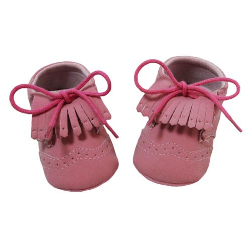Baby Girls Pink Fringe Lace up Moccasin Crib Shoes 0-12M