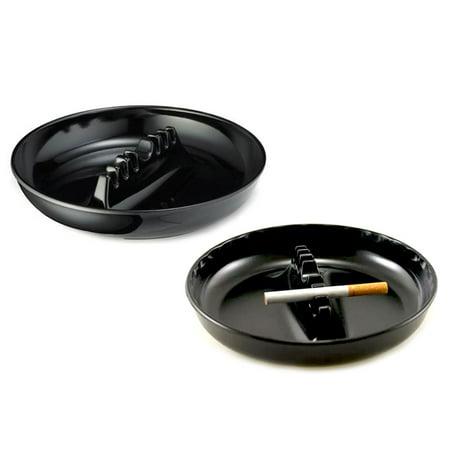 "2 Melamine Ashtrays Cigarette Cigar Ashes Holder Round 7"" Ash Tray Home Bar"