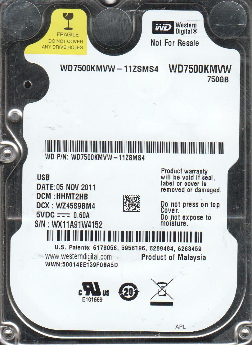WD7500KMVW-11ZSMS4, DCM HHMT2HB, Western Digital 750GB USB 2.5 Hard Drive by Western Digital