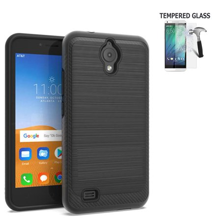 Phone Case For AT&T PREPAID AT&T Axia, Cricket Vision Case Tempered Glass Brush Dual-Layered Cover (Brush Black / Tempered Glass)