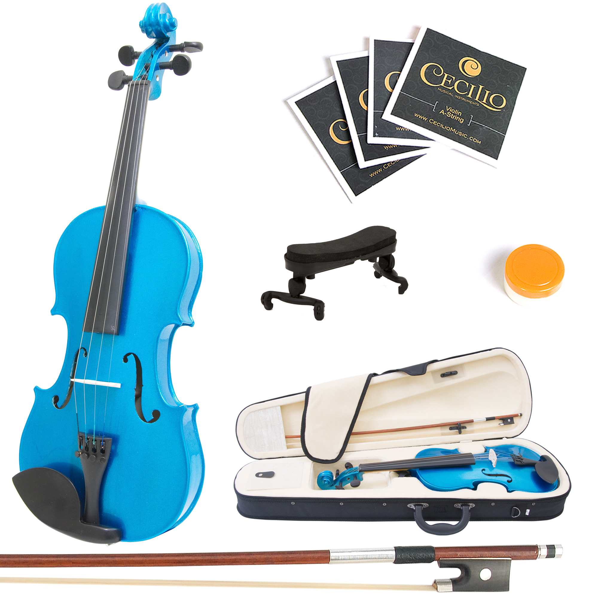 Mendini by Cecilio Full Size 4/4 MV-Blue Handcrafted Solid Wood Violin Pack with 1 Year Warranty, Shoulder Rest, Bow, Rosin, Extra Set Strings, 2 Bridges & Case, Metallic Blue